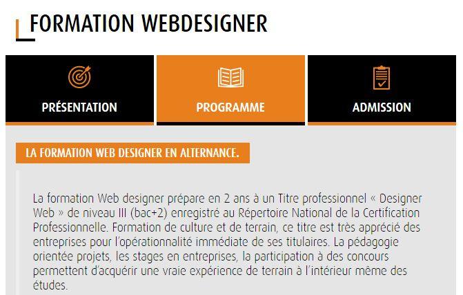 Formation webdesigner post bac